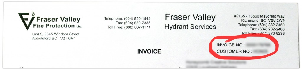 Fraser Valley Invoice